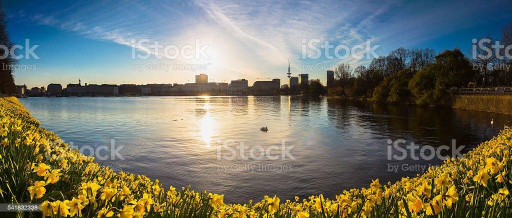 Springtime in Hamburg stock photo