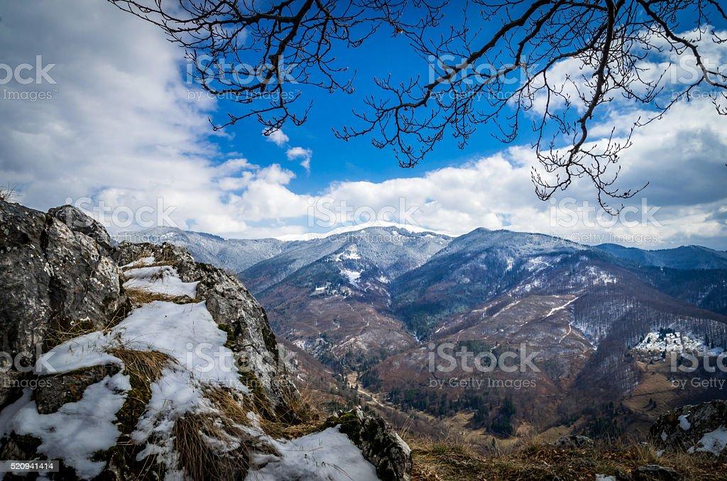Springtime in mountains. stock photo