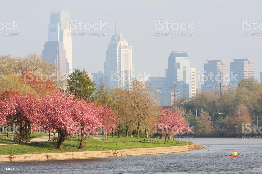 Springtime in Philadelphia city stock photo