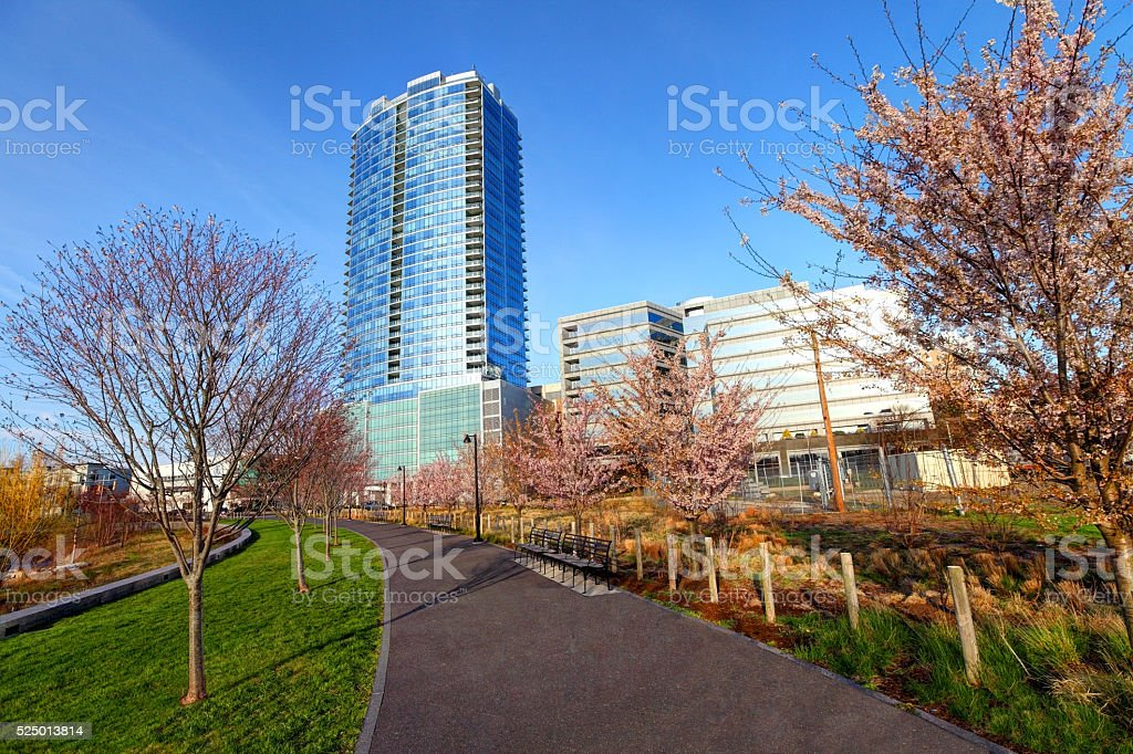 Springtime in Stamford, Connecticut stock photo