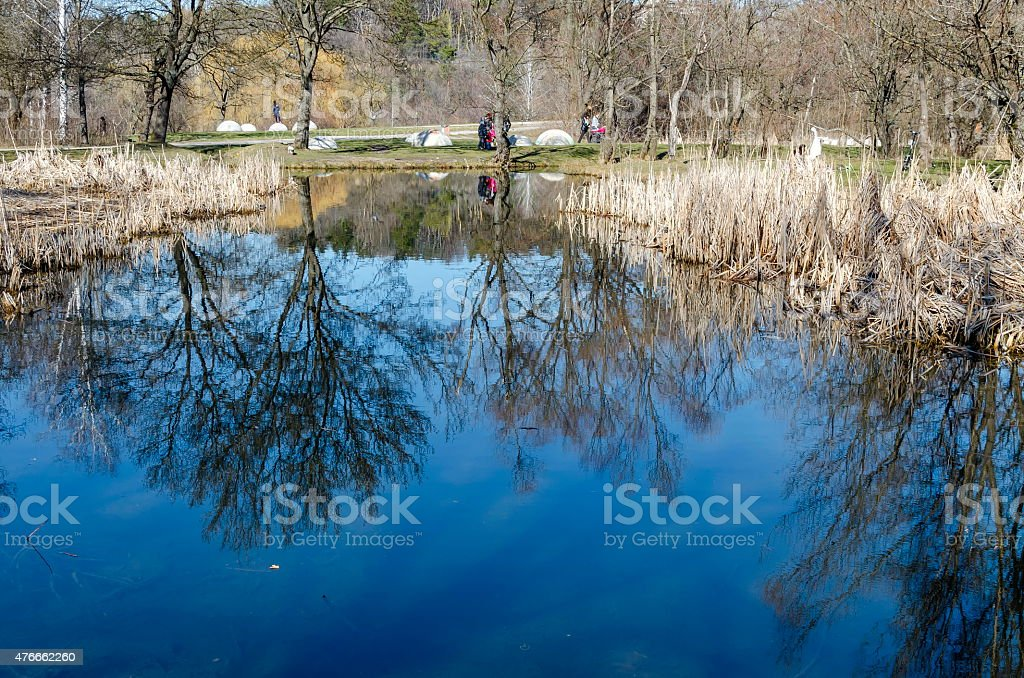 Springtime landscape with reflection in South park stock photo