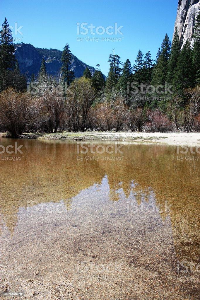 Springtime Mirror Lake in Yosemite-National Park California, USA stock photo