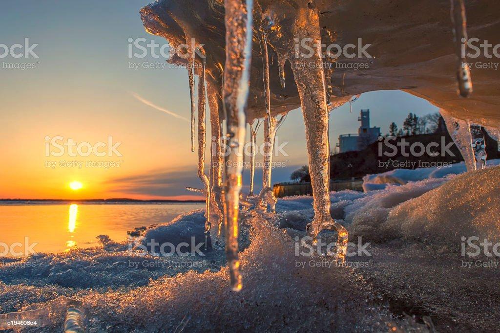 Springtime on the Amur river stock photo