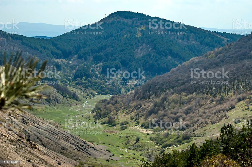 Springtime panorama of mountain, forest and meanders river in valley stock photo