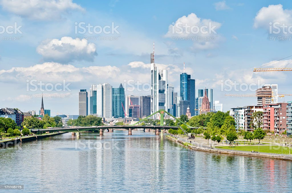 Springtime skyline of Frankfurt am Main stock photo