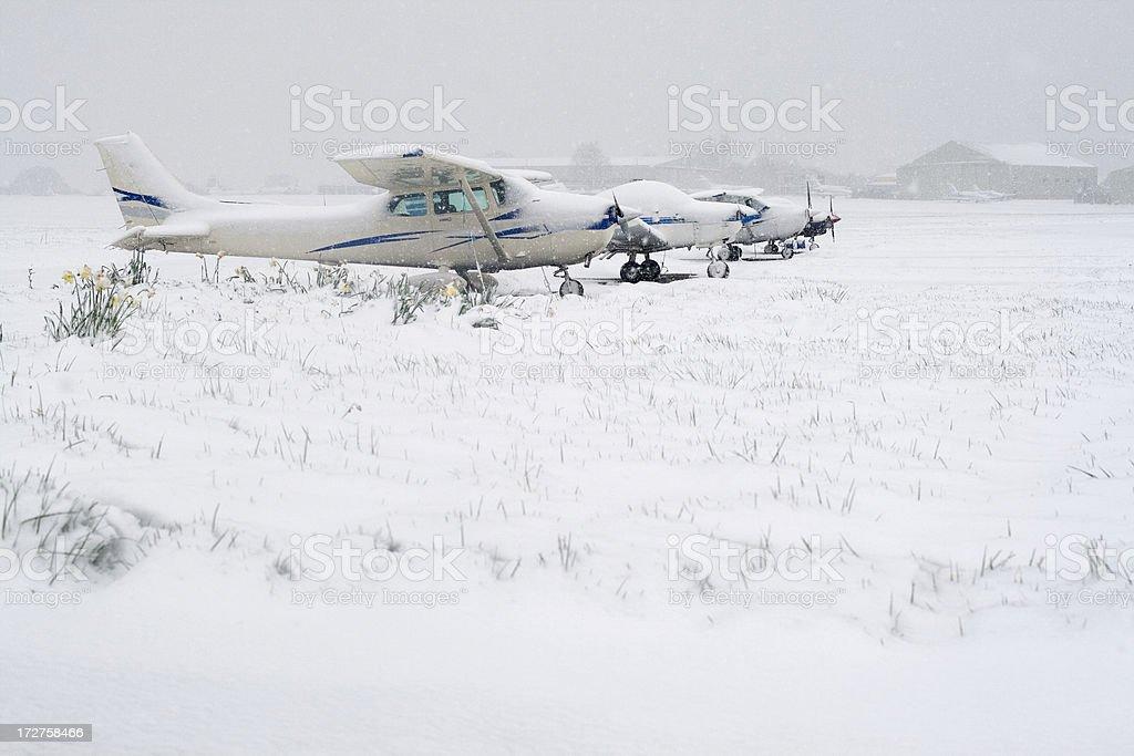 Springtime snow at the airport stock photo