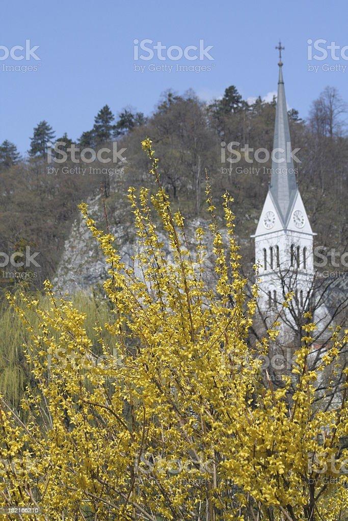 Springtime steeple stock photo