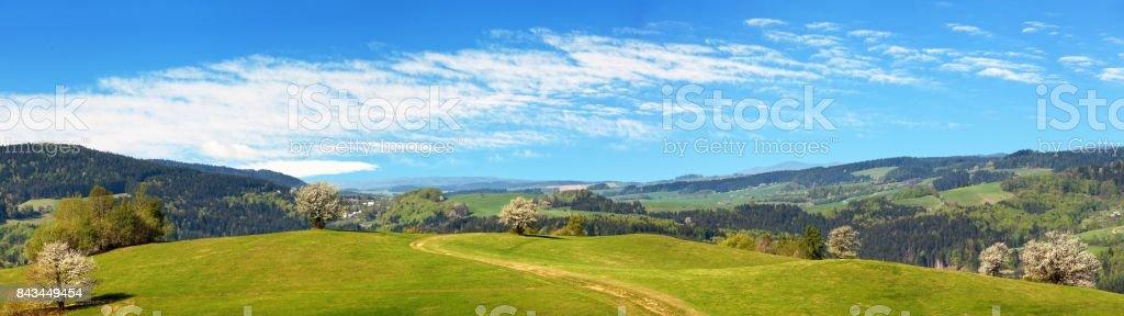 springtime view from Carpathian Mountains stock photo