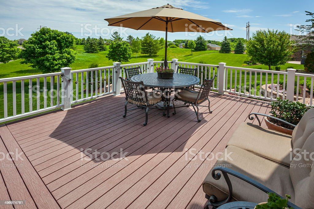Springtime view of golf course from raised patio stock photo