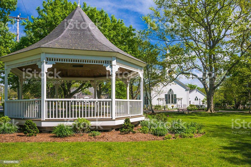 Springtime Village Bandstand stock photo