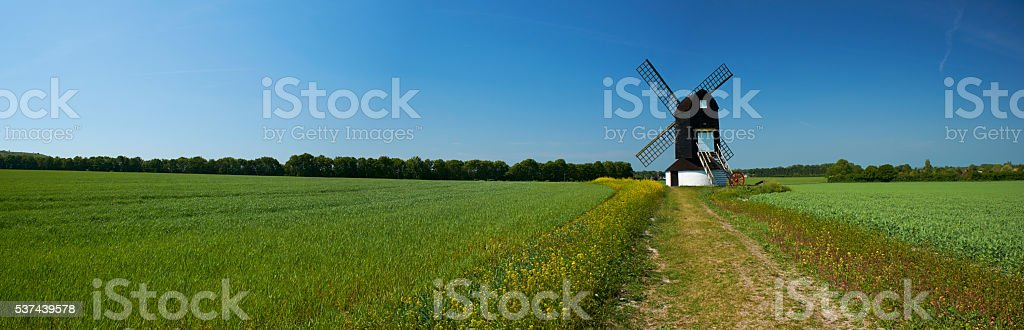 Springtime Windmill Panorama stock photo