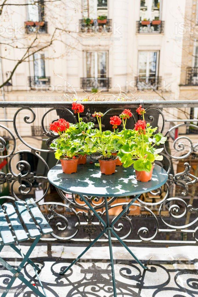 Springtime with red geraniums on a Paris balcony stock photo