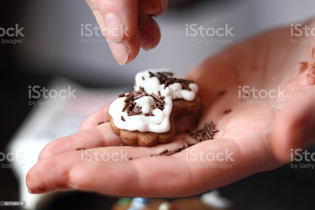 Sprinkle chocolate strands. Making Gingerbread Cookies Series. stock photo
