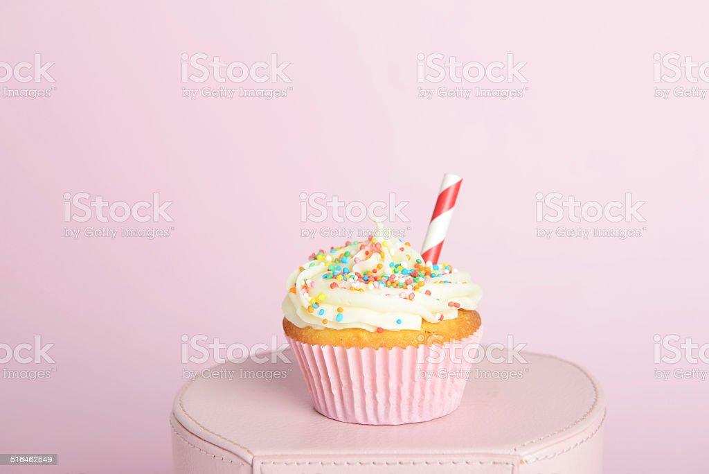 Sprinkle cupcake stock photo