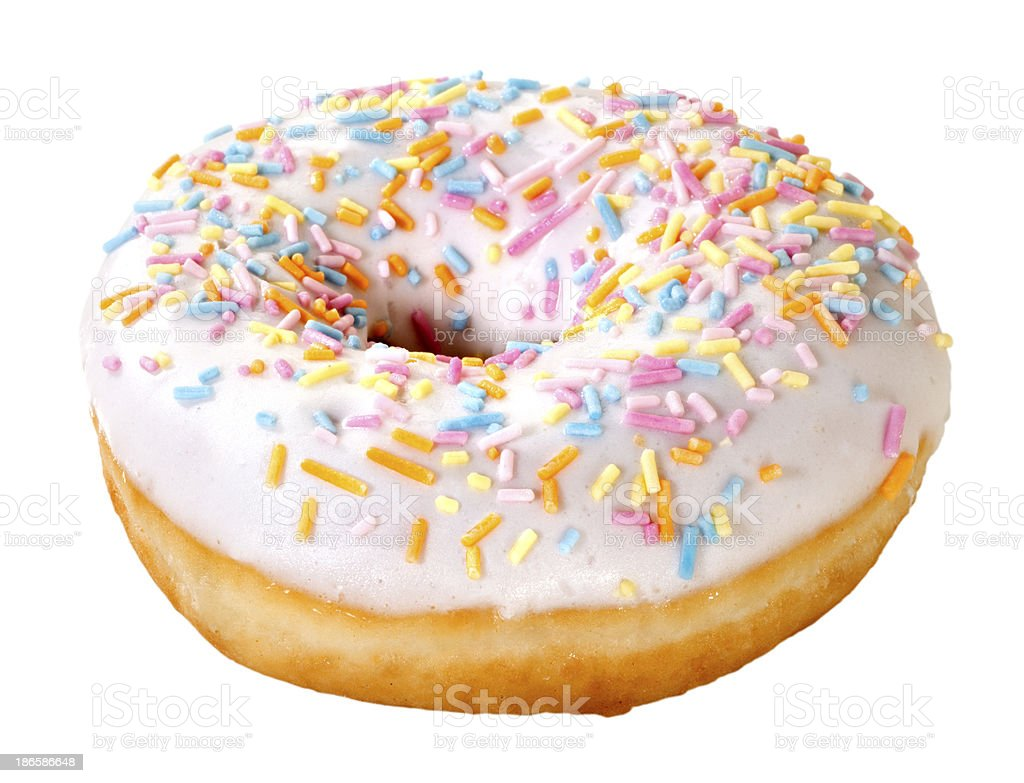 Sprinkle donut(+clipping path) royalty-free stock photo