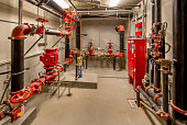 Sprinkler Control Room with Pumps, Valves, and Standpipes
