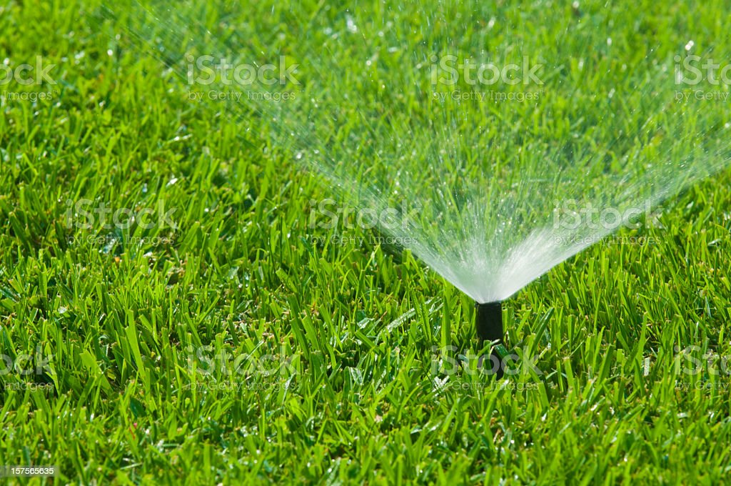 Sprinkler system to water the grass stock photo