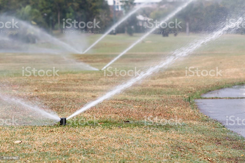 Sprinkler watering in golf course stock photo