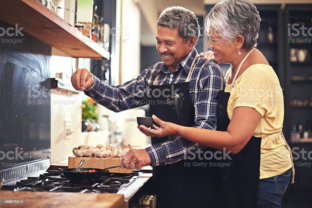 Sprinkles of seasoning stock photo