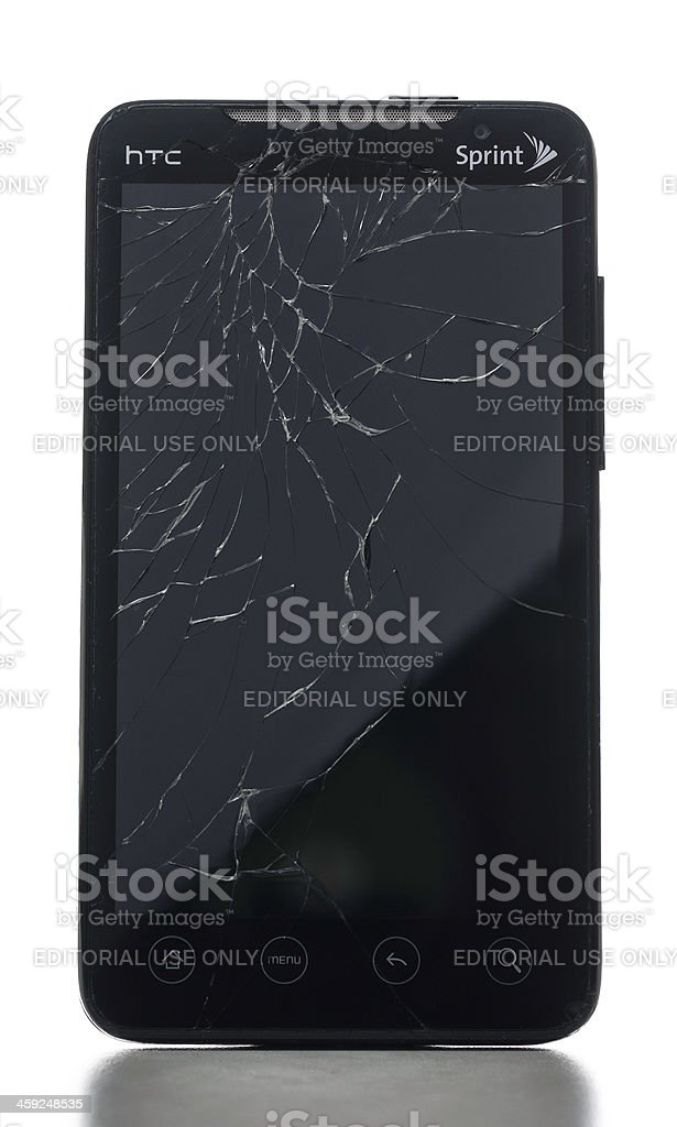 Sprint HTC Evo 4G with shattered digitizer stock photo