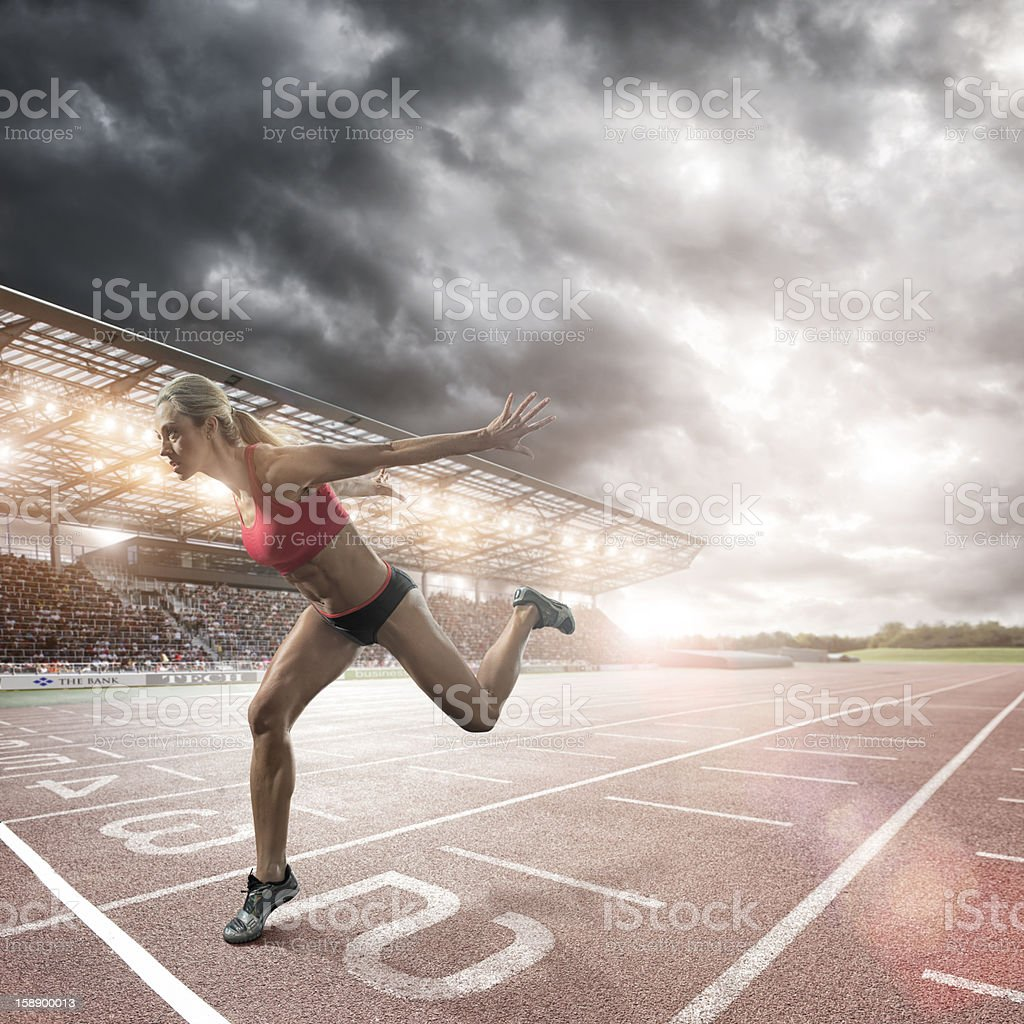 Sprinter About To Cross Finish Line stock photo