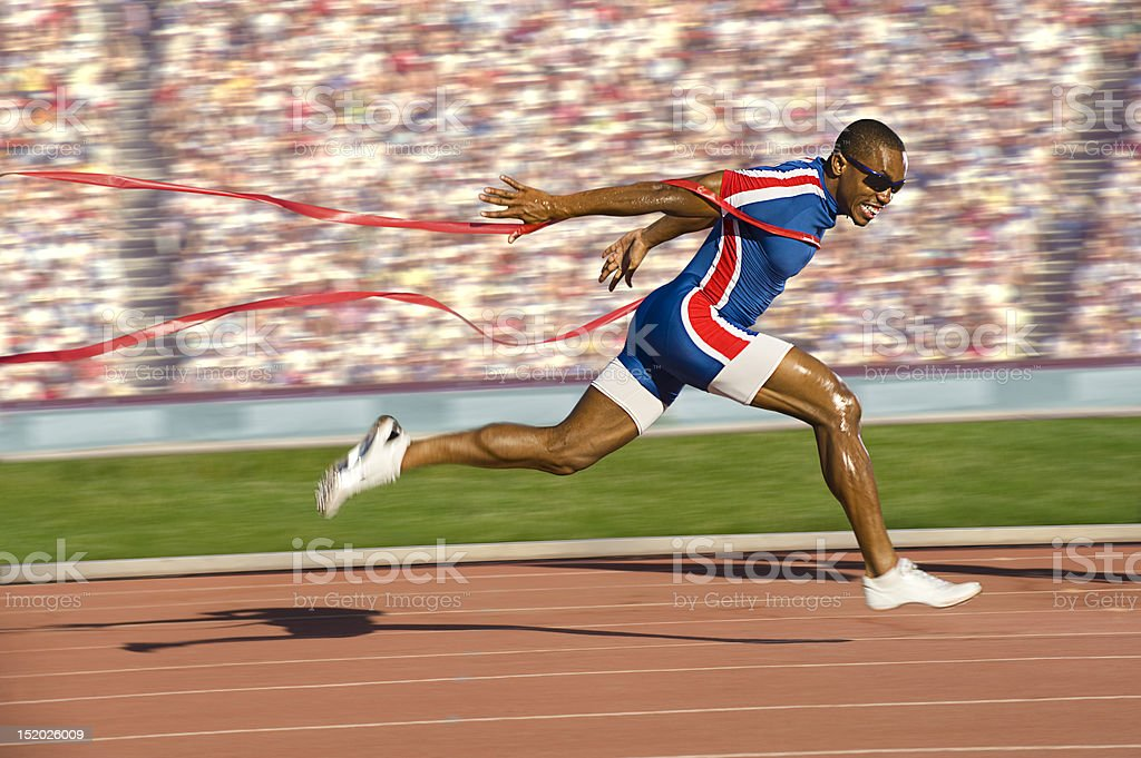 Sprinter Crossing the Finish Line stock photo
