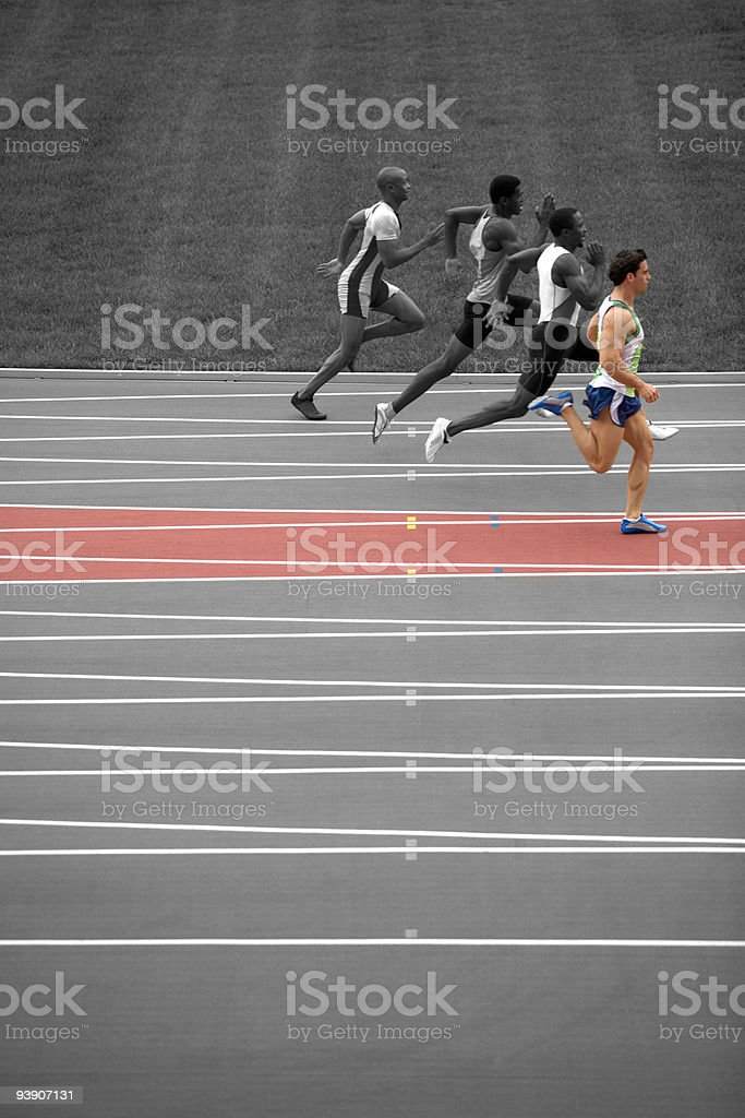 Sprinters on race track royalty-free stock photo