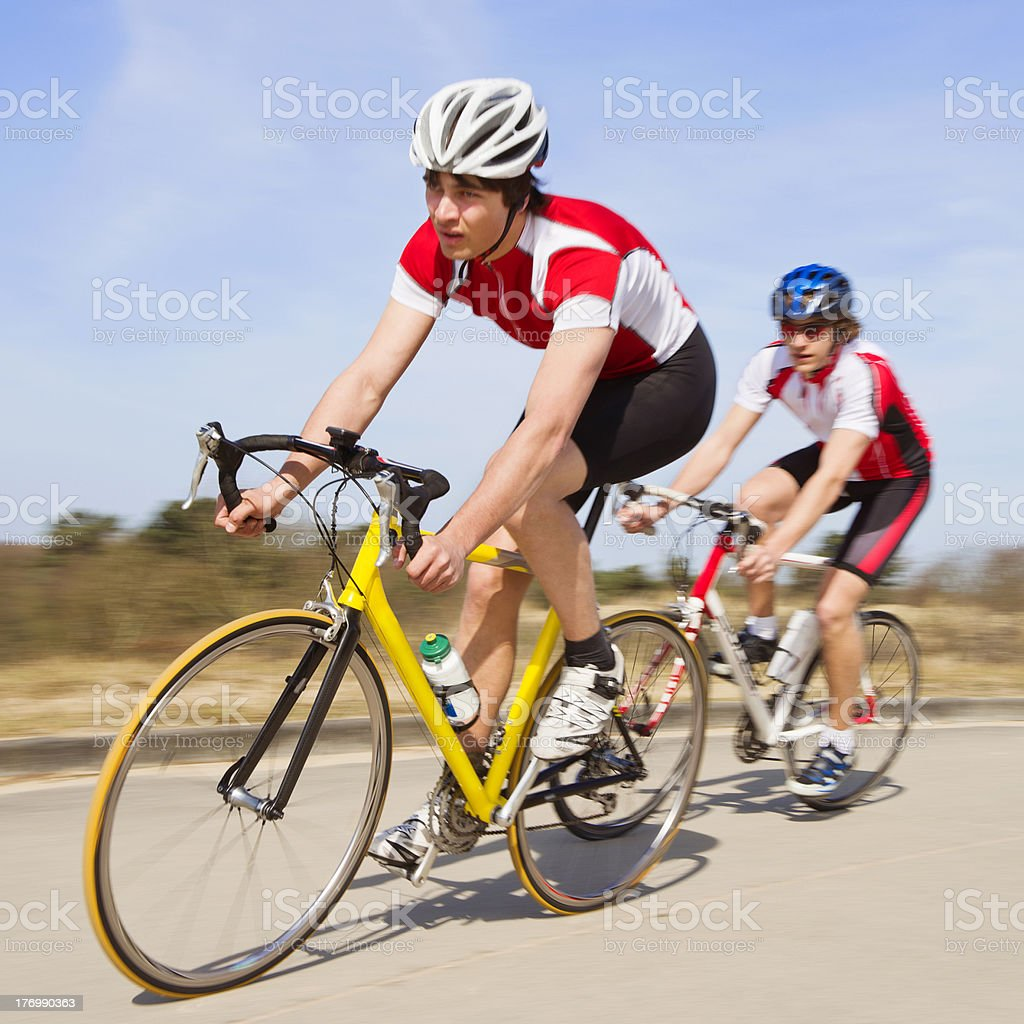 Sprinting cyclists royalty-free stock photo