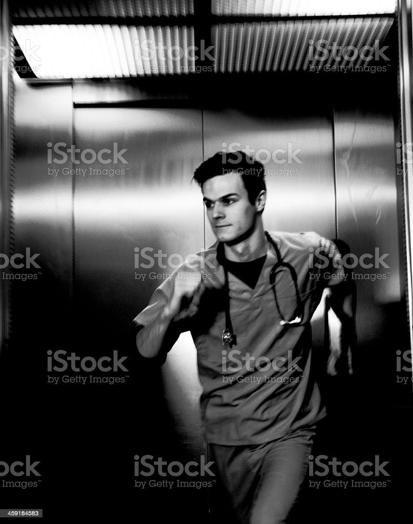 Sprinting paramedic stock photo