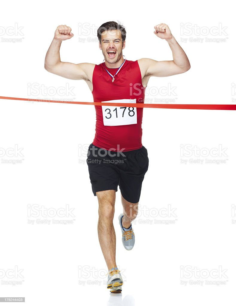 Sprinting to victory! stock photo