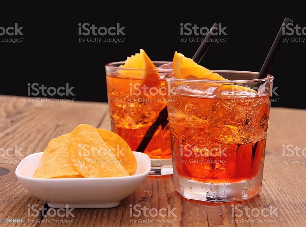 Spritz aperitif - two orange cocktail with ice cubes stock photo