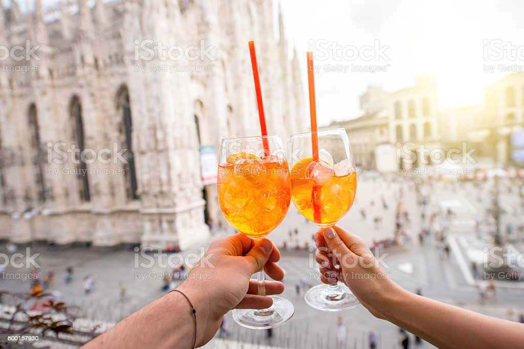 Spritz aperol drink in Milan stock photo