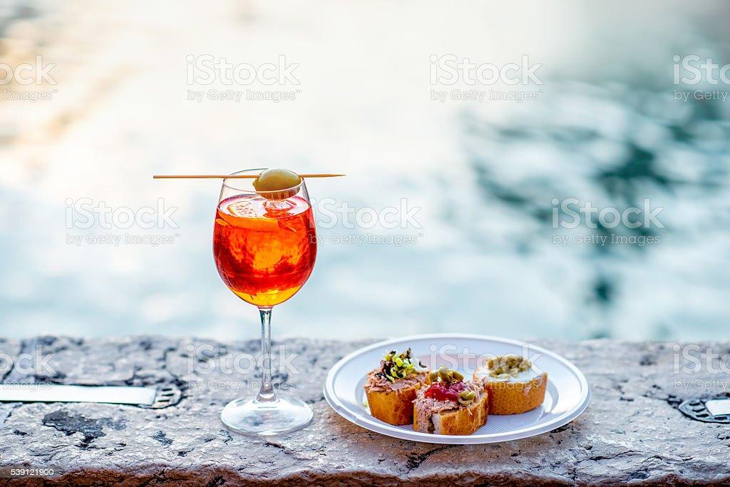 Spritz Aperol with cicchetti stock photo