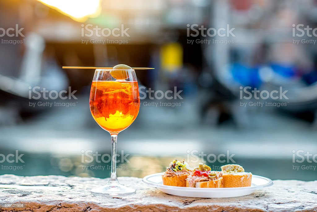 Spritz Aperol with cicchetti stock photo