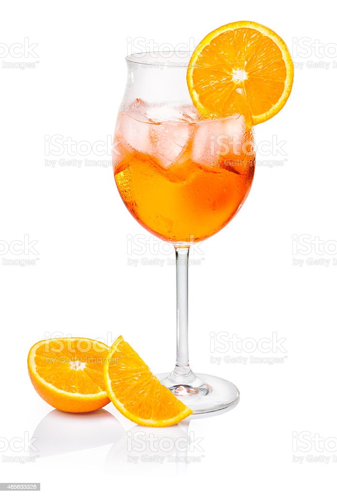Aperol Spritz  decorated with an orange slice stock photo