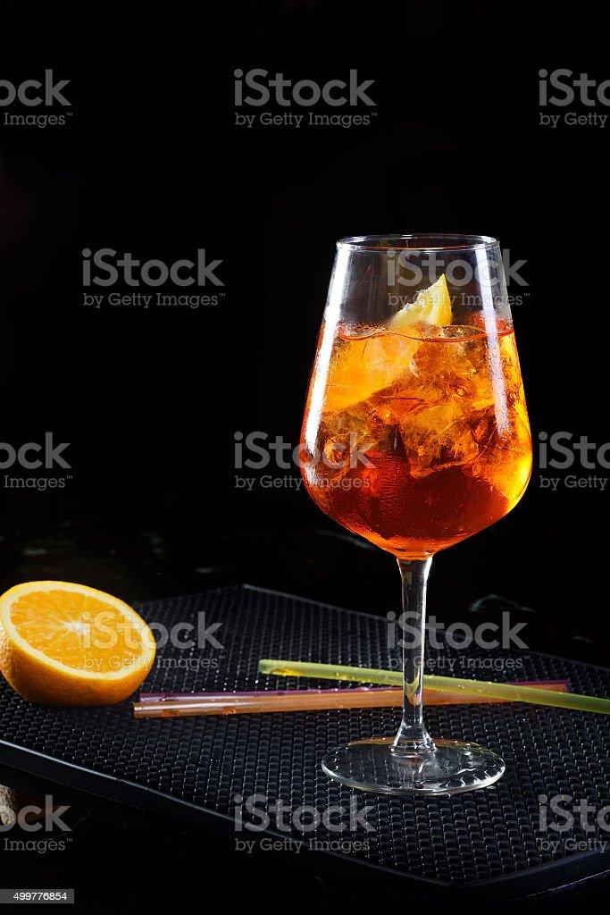 Aperol Spritz with ice and orange stock photo