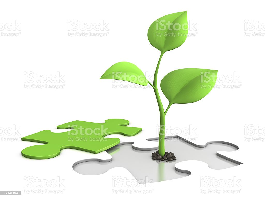 sprout and puzzle royalty-free stock photo