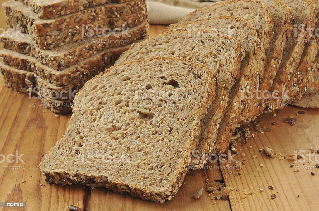 Sprouted grain and seed bread stock photo