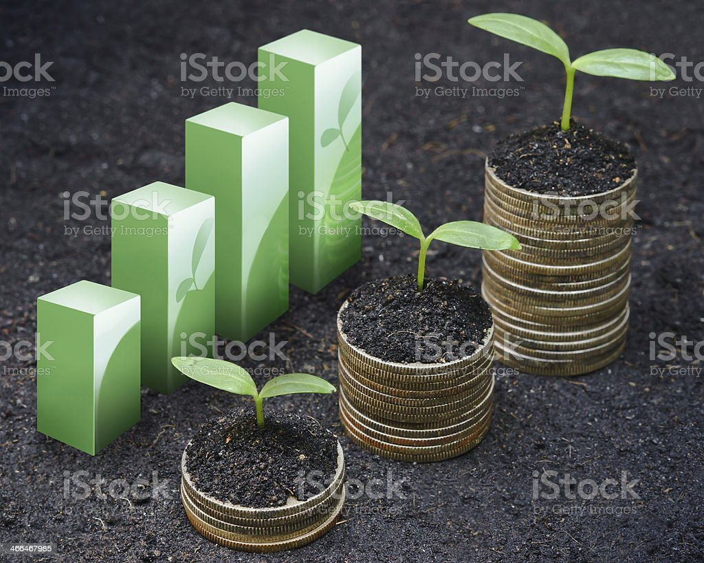 Sprouts growing from stacks of coins and bar graph concept stock photo