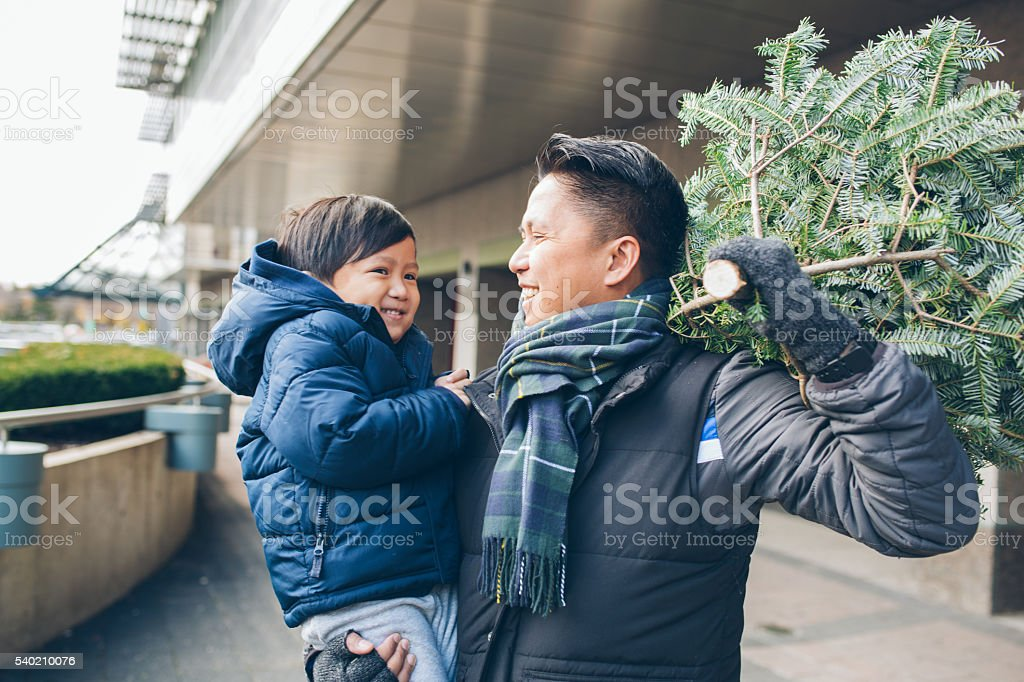 Spruce tree and Christmas shopping stock photo