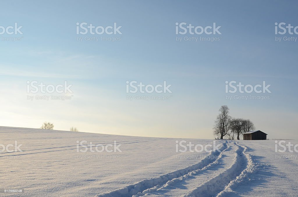 Spuren im Schnee stock photo