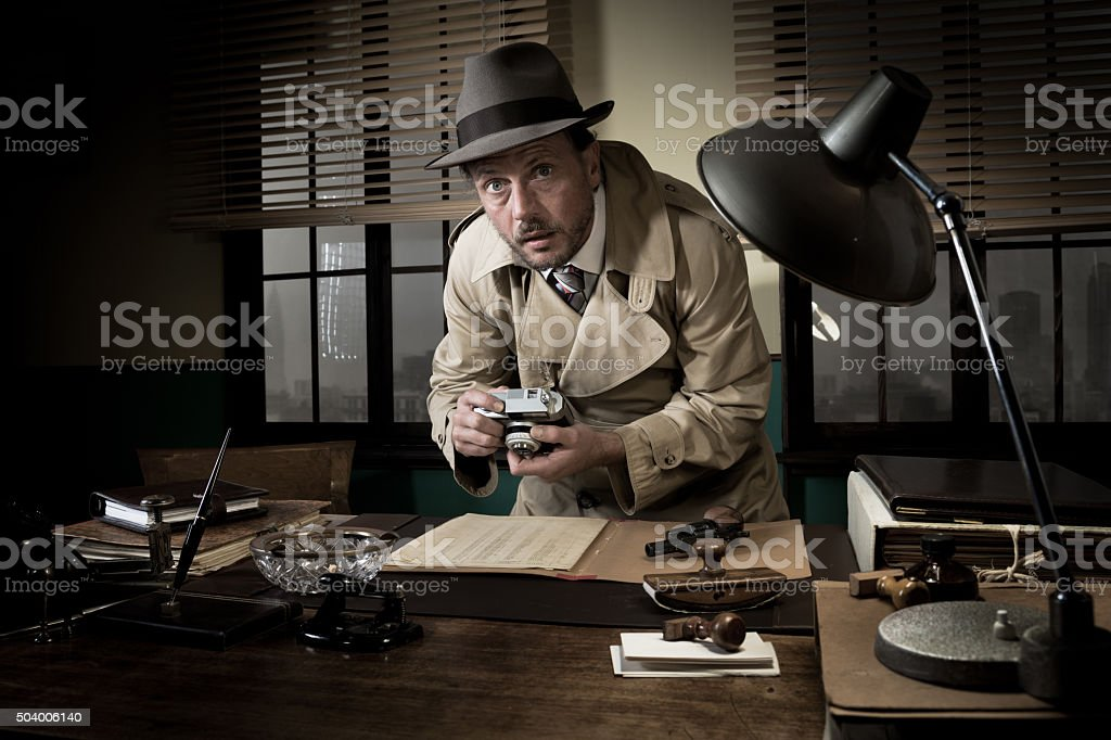 Spy agent caught stealing informations stock photo