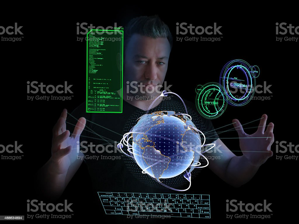 Spy and Digital World Map stock photo