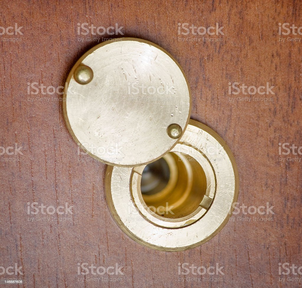 spy hole or peephole view at door royalty-free stock photo