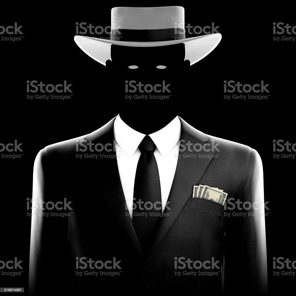Spy in Business Suit with Money stock photo