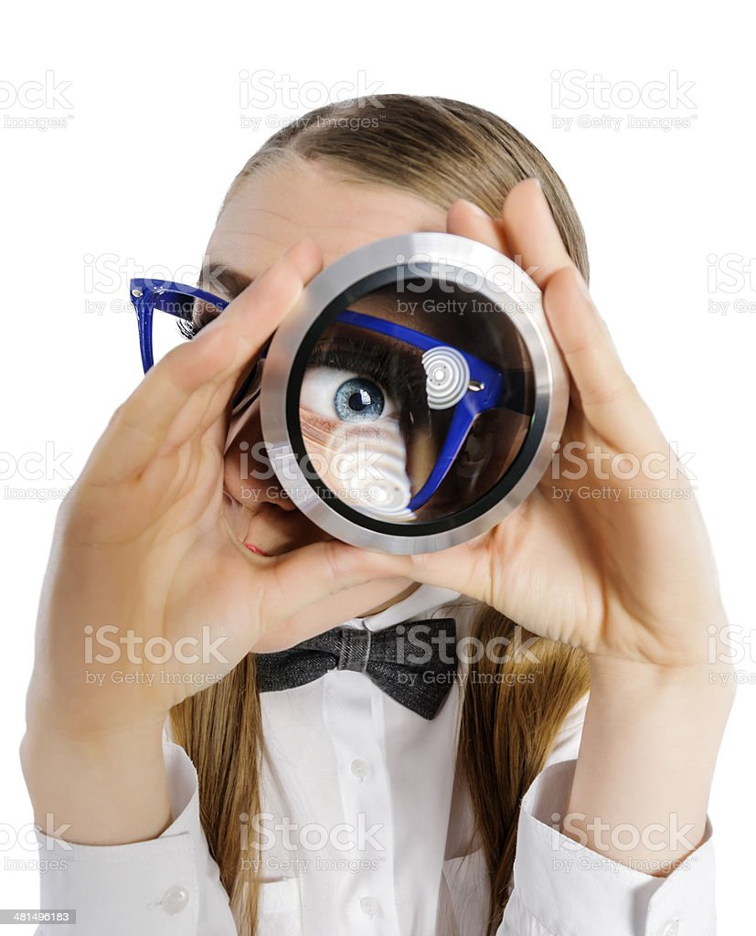 spy nerd woman royalty-free stock photo