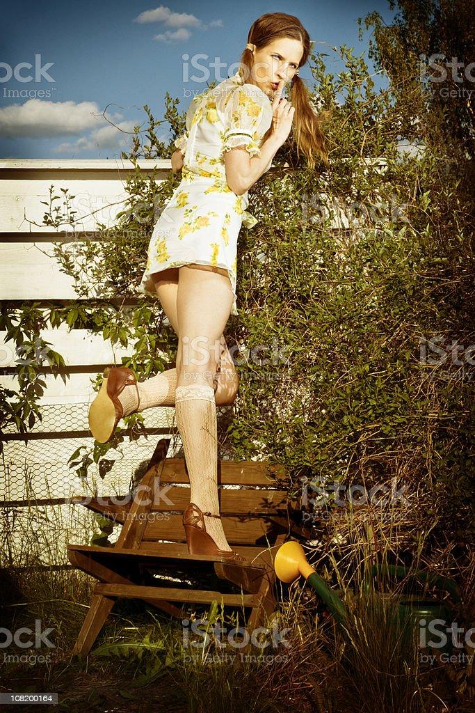 spy over fence stock photo
