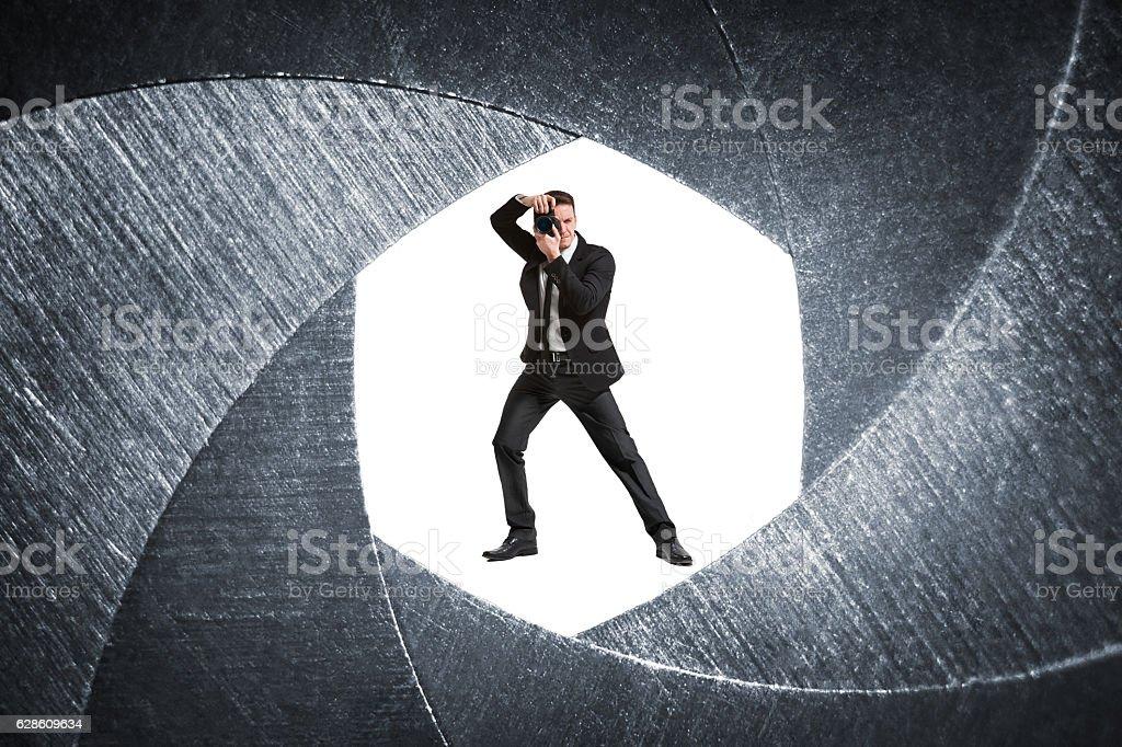 Spy. Photographer. stock photo