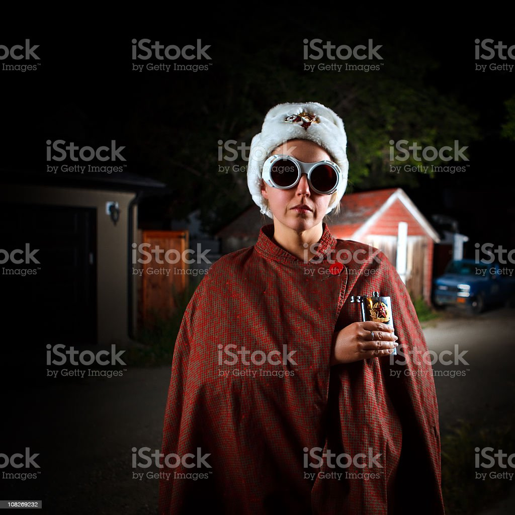 spy undercover on a dark alley stock photo