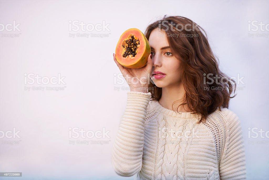 I spy with my papaya.... stock photo
